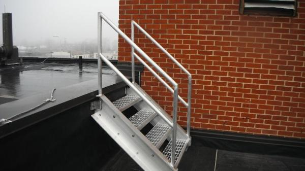GSM custom-fabricated this roof stairs & railings.