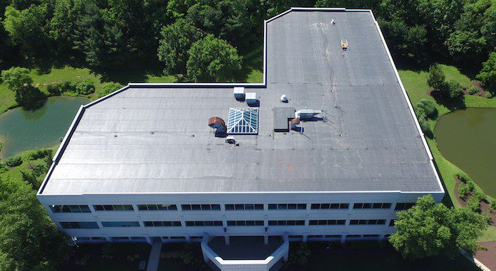 black roof on a commercial building